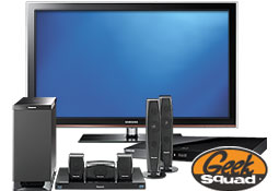 Home theater products and Geek Squad logo