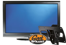 TV, mount and Geek Squad