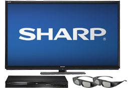 Sharp TV, Blu-ray player and 3D glasses