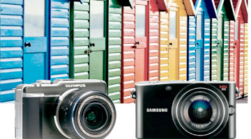 Photograph of colorful buildings and cameras