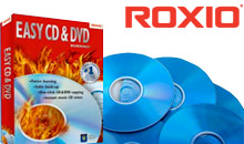 Roxio logo box art and DVDs