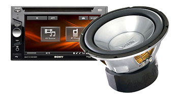 Car stereo and subwoofer
