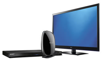 Blu-ray player, TV and wireless adapter