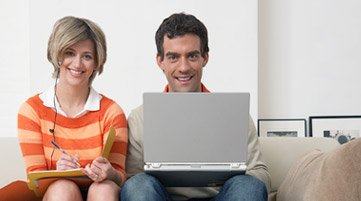 Couple using Internet