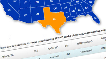 HD radio station map