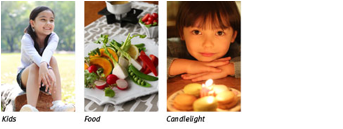 Kids, food, candlelight