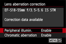 Lens aberration correction screen