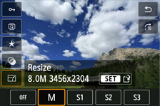 JPEG resizing screen