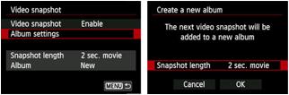 Video snapshot screens