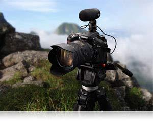 Camera, microphone, tripod
