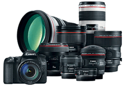 DSLR camera with lenses