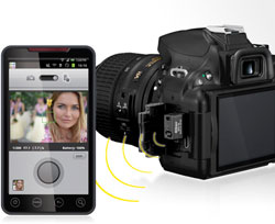 DSLR camera, wireless adapter, smart phone