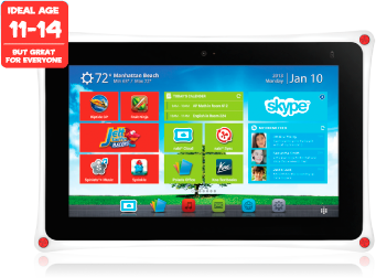 Tablet, ideal age 11-14, but great for everyone, learn, play, do