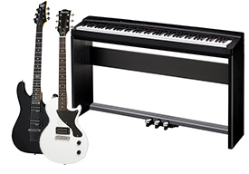 Keyboard and guitar