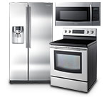 microwave, refrigerator and range