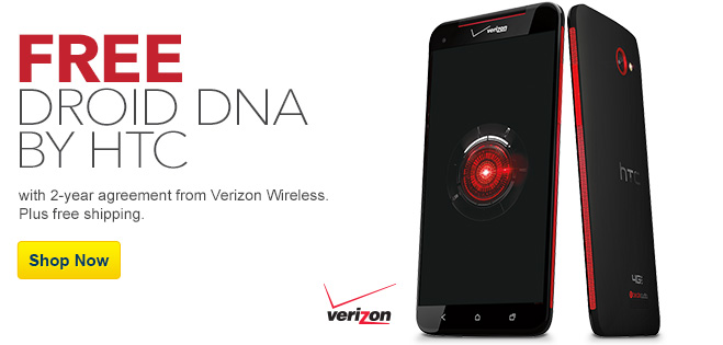 Free HTC DROID DNA LTE mobile phone with 2-year agreement with Verizon wireless. Plus free shipping. Shop Now.