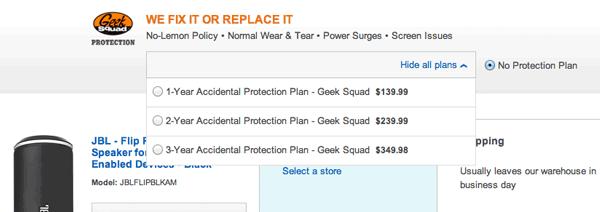Adding protection plan