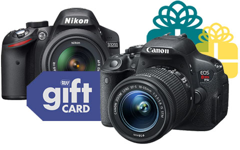 DSLR cameras and gift card