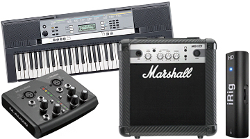 Microphone, keyboard, amp and interface