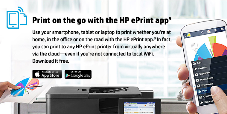 Print on the Go with the Free HP ePrint App.