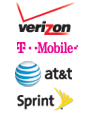 Verizon, A T and T, Sprint, T Mobile, Wi-Fi + 4G LTE