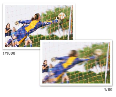 Soccer shot at two shutter speeds