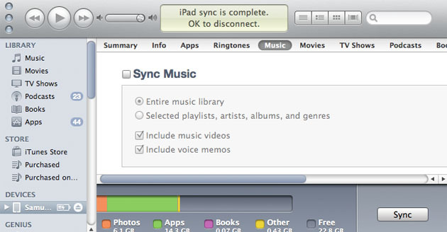 Sincronización con iTunes