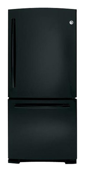 GE - 20.3 Cu. Ft. Bottom-Freezer Refrigerator - Black