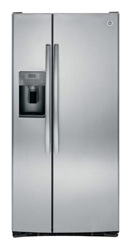 GE - 22.5 Cu. Ft. Side-by-Side Refrigerator with Thru-the-Door Ice and Water - Stainless Steel (Silver)