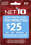 NET10 - $25 Prepaid Airtime Card