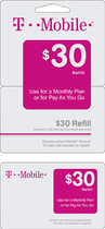 T-Mobile Prepaid - $30 Wireless Airtime Refill Card