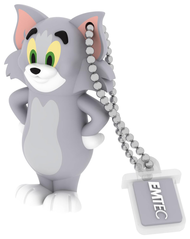 Emtec - Tom and Jerry 8GB USB 2.0 Flash Drive - Gray/White/Black