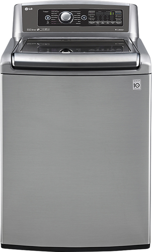 LG - 5.0 Cu. Ft. 14-Cycle High-Efficiency Steam Top-Loading Washer - Graphite Steel