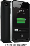 mophie - Juice Pack Air Charging Case for Apple iPhone 4 and 4S - Black/Silver
