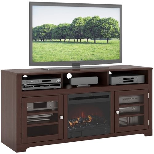 Sonax - West Lake Fireplace TV Bench for Most TVs Up to 68 - Espresso (Brown)