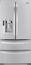 LG - 247 Cu Ft French Door Refrigerator with Thru-the-Door Ice and Water - Stainless-Steel