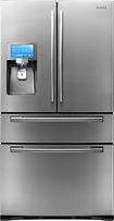 Samsung - 28.0 Cu. Ft. French Door Refrigerator with LCD Touch Screen and Apps - Stainless-Steel