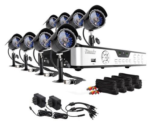 Zmodo - 8-Channel, 8-Camera Indoor/Outdoor Security System - Black