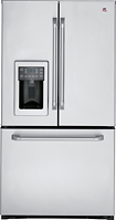 GE - Cafe 251 Cu Ft French Door Refrigerator with Thru-the-Door Ice and Water - Stainless-Steel