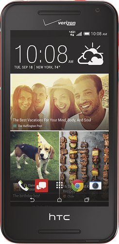 Verizon Wireless Prepaid - HTC Desire 612 4G LTE with 8GB Memory No-Contract Cell Phone - Black/Red