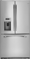 GE - Profile 209 Cu Ft French Door Refrigerator with Thru-the-Door Ice and Water - Stainless-Steel