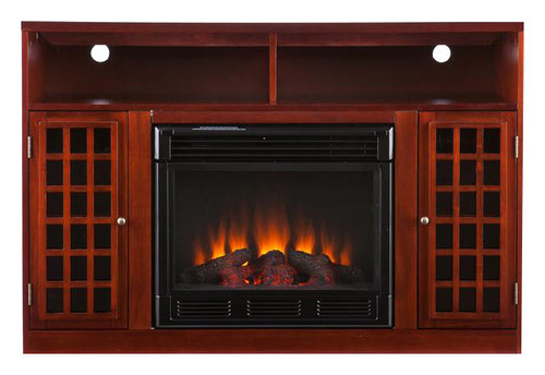 SEI - Electric Media Fireplace for Most Flat-Panel TVs Up to 46 - Mahogany (Brown)