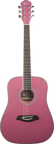 Oscar Schmidt - 6-String 3/4-Size Dreadnought Acoustic Guitar - Pink
