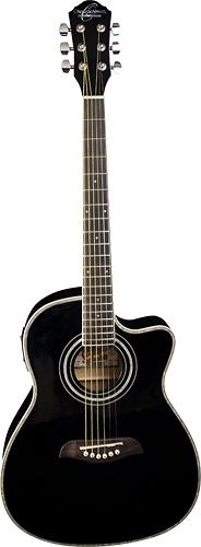 Oscar Schmidt - 6-String 3/4-Size Acoustic/Electric Guitar - Black