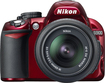 Nikon - D3100 142-Megapixel DSLR Camera with 18-55mm VR Lens - Red