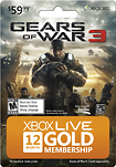 - Gears of War 3 12-Month Xbox LIVE Gold Membership