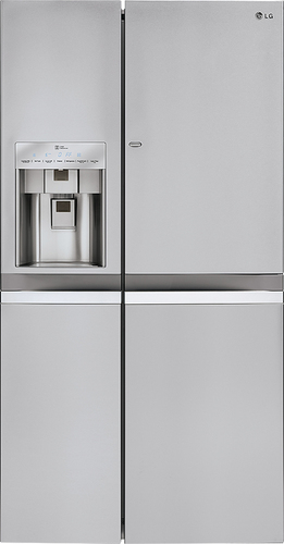 LG - Door-in-Door 21.6 Cu. Ft. Counter-Depth Side-by-Side Refrigerator with Thru-the-Door Ice and Water - Stainless Steel (Silver)