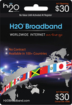 H2O Broadband - International Roaming $30 Airtime Card