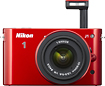 Nikon - 1 J1 101-Megapixel Digital Camera with 10-30mm Lens Kit - Red