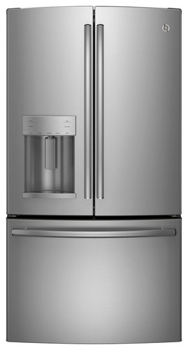 GE - 27.7 Cu. Ft. French Door Refrigerator with Thru-the-Door Ice and Water - Stainless Steel (Silver)